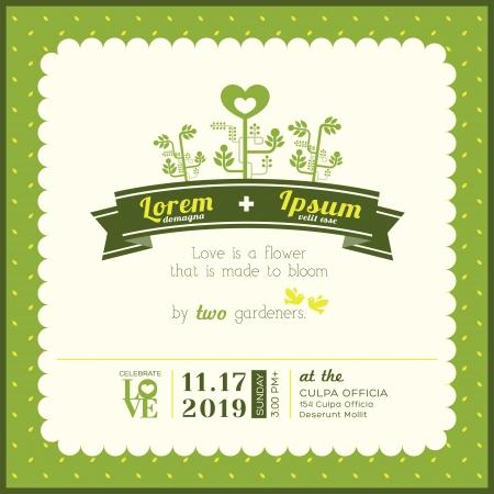 결혼식: 그린 가든 테마 결혼식 초대 카드 템플릿 일러스트