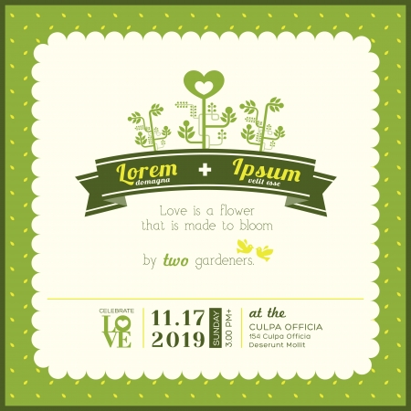marriage cartoon: Green Garden Theme wedding invitation card template