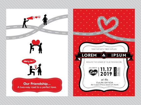 wedding invitation card template with cute groom and bride cartoon Stock Vector - 21423129