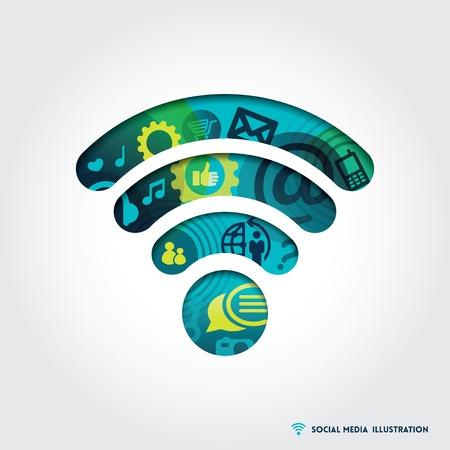 Minimalistische stijl Signal symbool Illustratie met sociale media concept Stock Illustratie