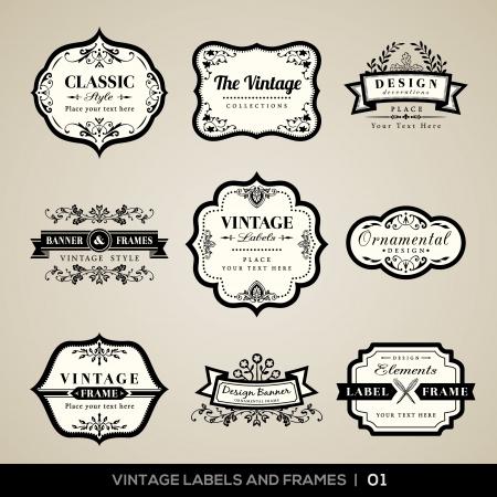 calligraphique: Ensemble de vecteur d'�tiquettes vintage calligraphiques et des cadres des �l�ments de conception