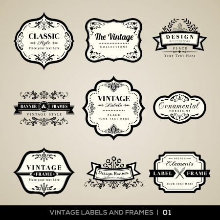 Vector set van kalligrafische Vintage labels en frames ontwerpelementen Stock Illustratie