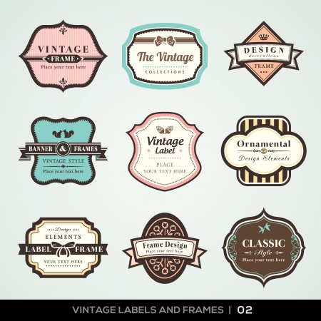 Vector set of calligraphic Vintage labels and frames design elements