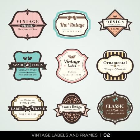 vector vintage: Vector set of calligraphic Vintage labels and frames design elements