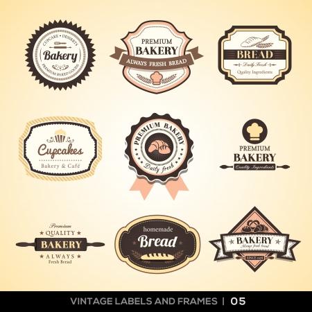 빈티지 빵집 로고 라벨과 프레임 디자인의 벡터 설정