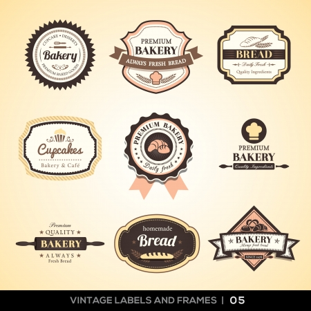 pastries: Vector set of Vintage bakery logo labels and frames design