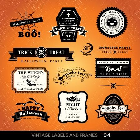 Collectie van Halloween labels en frames met retro vintage stijl design