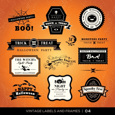 Collection of Halloween Labels and frames with retro vintage styled design Stock Vector - 21948364