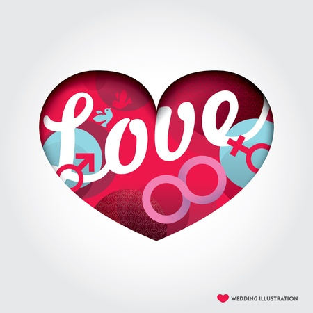 Minimal style Heart shape Illustration with Love Concept Stock Vector - 21948369