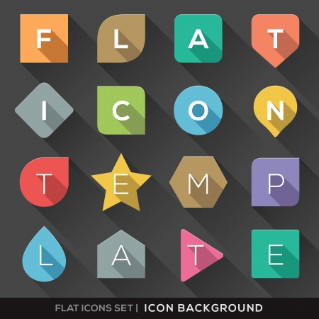 Set of Geometric Shapes background for Flat Icons with long shadow Vector