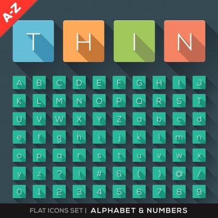 alfabeto: Iconos Flat Alfabeto y N�mero Set con una larga sombra Vectores