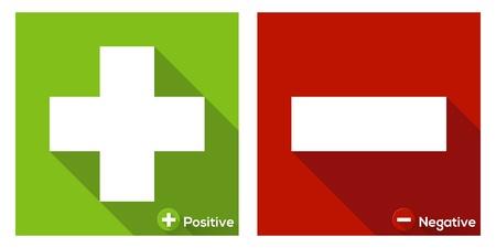 pas d accord: Plus dans le panneau vert et Minus en ic�ne rouge  plat avec de longues ombres