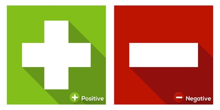 Plus sign in green and Minus sign in red / flat icon with long shadow Stock Vector - 21948378