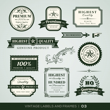 guarantee: Collection of Premium Quality and Guarantee Labels with retro vintage styled design