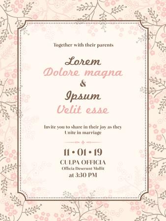 свадебный: Свадебное приглашение шаблон Иллюстрация