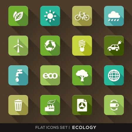 reciclaje papel: Conjunto de verde de la ecolog�a Iconos planas con larga sombra