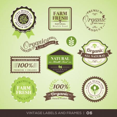 logos restaurantes: Colecci�n de etiquetas de productos frescos org�nicos con un dise�o retro vintage estilo Vectores