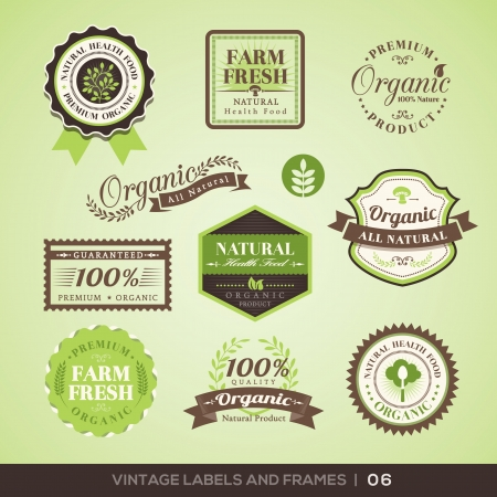 abstract logos: Collection of Fresh Organic Product Labels with retro vintage styled design