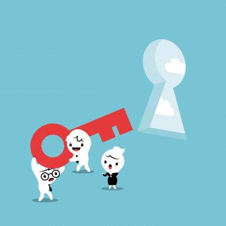 Problem Solving Attraverso Teamwork illustrazione Vettoriali