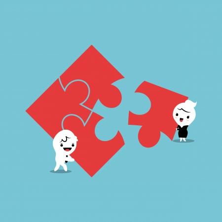 piezas de rompecabezas: hombre y mujer de la elaboraci�n de piezas de un rompecabezas Vectores