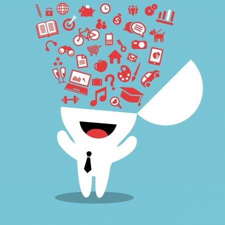 mente: Resumen Ilustraci�n con los iconos de estilo de vida splash de la cabeza humana