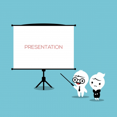 presentation board: Businessman cartoon with Presentation Board Illustration