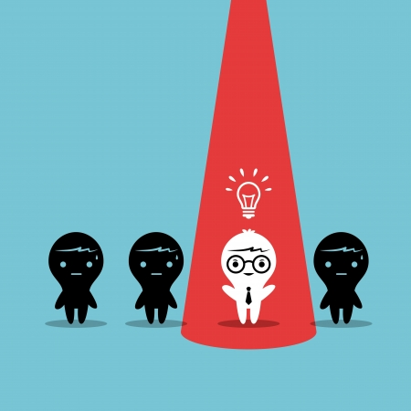 think out of box: Creative Business man stand out from co-worker