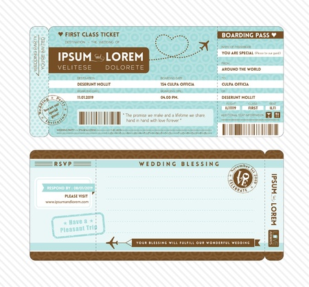 Boarding Pass Ticket Wedding Invitation Template Vector
