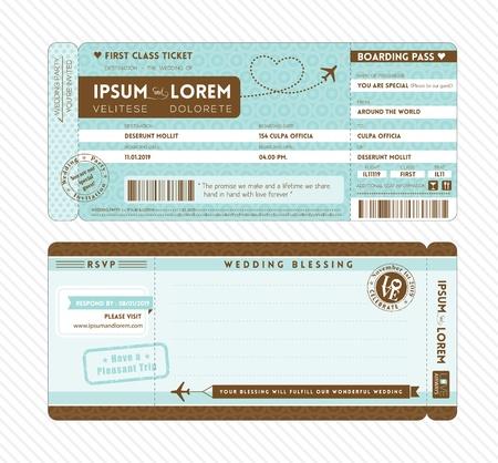 Bordkarte Ticket Hochzeitseinladungsschablone Standard-Bild - 22139833