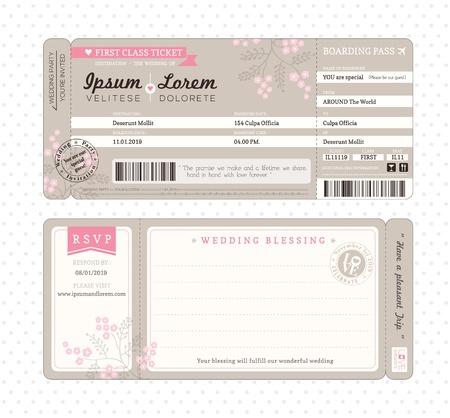 pasaporte: Boarding Plantilla de la invitaci�n de la boda de entradas Pass