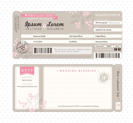 biglietto: Ticket di imbarco Wedding Invitation Template