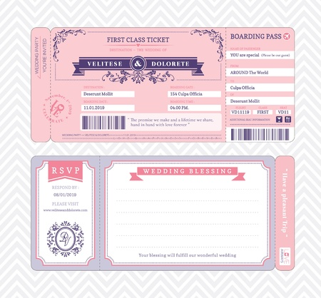 Boarding Pass Ticket Wedding Invitation Template Stok Fotoğraf - 22139840