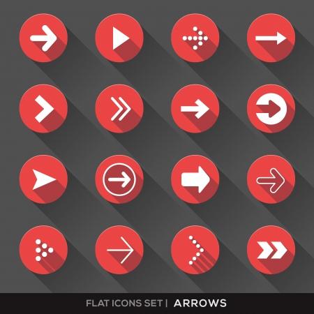 designator: Conjunto de Se�al de flecha iconos planos con larga sombra