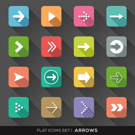back button: Set of Arrow Sign Flat Icons with long shadow Illustration