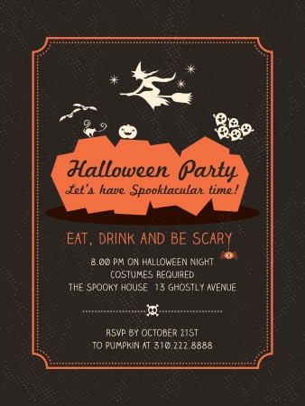 Halloween Party Invitation Template for Card-Poster-Flyer Illustration