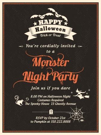 halloween party: Halloween Party Template voor kaart-Poster-Flyer Uitnodiging Stock Illustratie