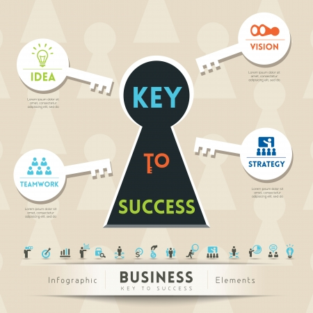 Key to Success in Business Keyhole Conceptual Illustration with Icons Vector