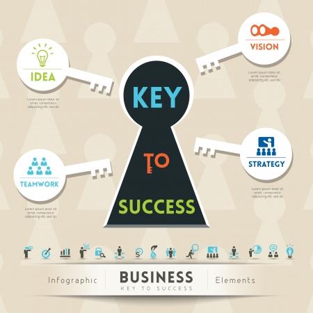 La clé du succès en affaires Keyhole illustration conceptuelle avec des icônes