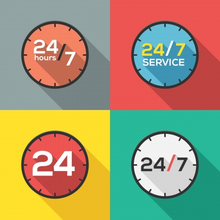 around the clock: 24 hours a day and 7 days a week service flat icon clock Illustration