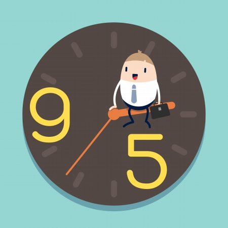 happy hours: businessman sitting on hour hand of Clock with 9 to 5 concept