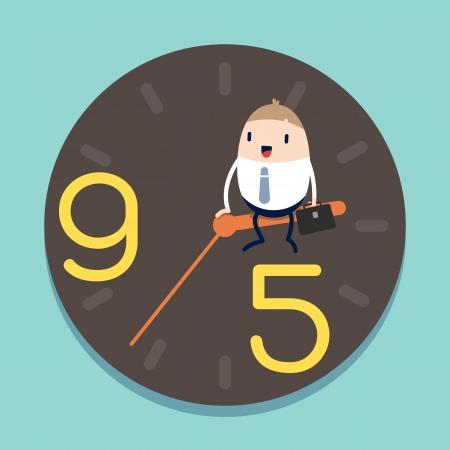 happy hours: homme d'affaires assis sur l'aiguille des heures de r�veil avec 9-5 notion Illustration