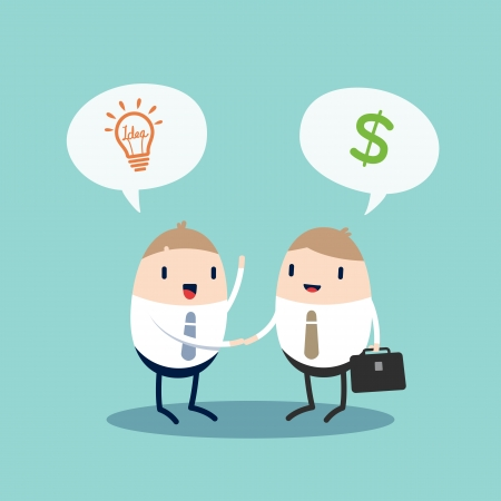deal making: Cartoon Character Business people shaking hands  presenting idea for making money  contract agreement