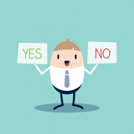 yes no: Business man Cartoon character holding Yes or No sign