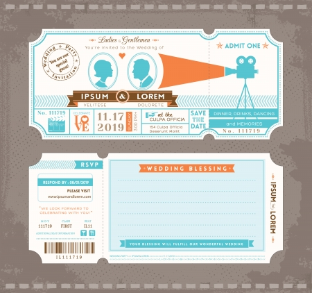 映画チケットの結婚式の招待状のデザイン テンプレート