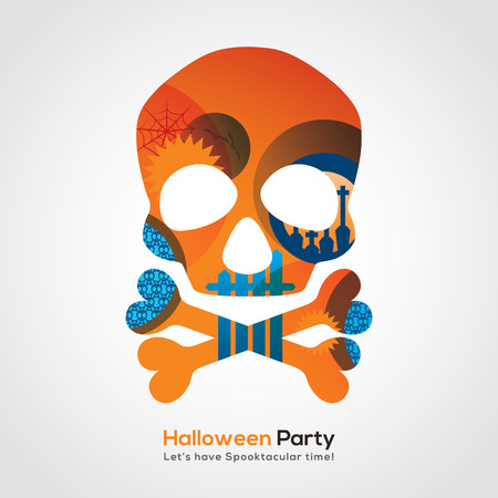 art abstract: Halloween Party Skull Isolated Illustration for invitation card  poster  flyer  web banner