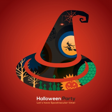 Halloween Party witch hat Isolated Illustration for invitation card  poster  flyer  web banner Vector