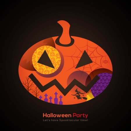 Halloween Party Pumpkin Isolated Illustration for invitation card  poster  flyer  web banner
