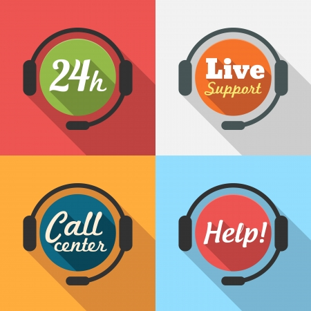 support center: Call Center  Customer Service  24 hours Support Flat Icon set