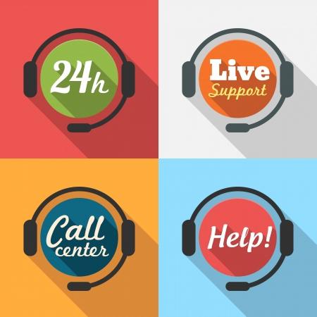 soutien: Call Center  Service � la client�le  24 heures Soutenez Ic�ne plat ensemble