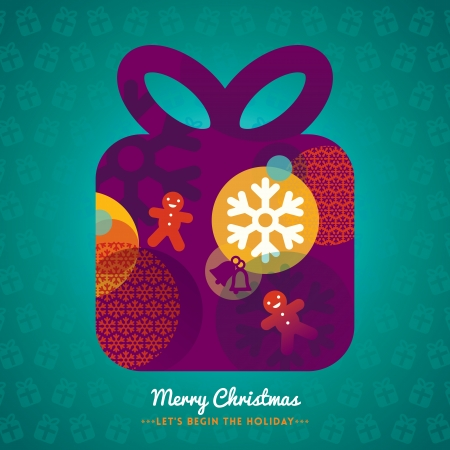 Christmas Gift Box with Merry Christmas lettering on background, illustration for Greeting Card, Poster, flyer, web banner Vector